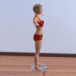 schlanke Frau steht auf der Waage